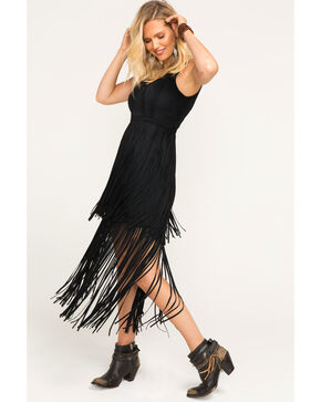 Idyllwind Women's Wild Nights Black Fringe Dress , Black, hi-res