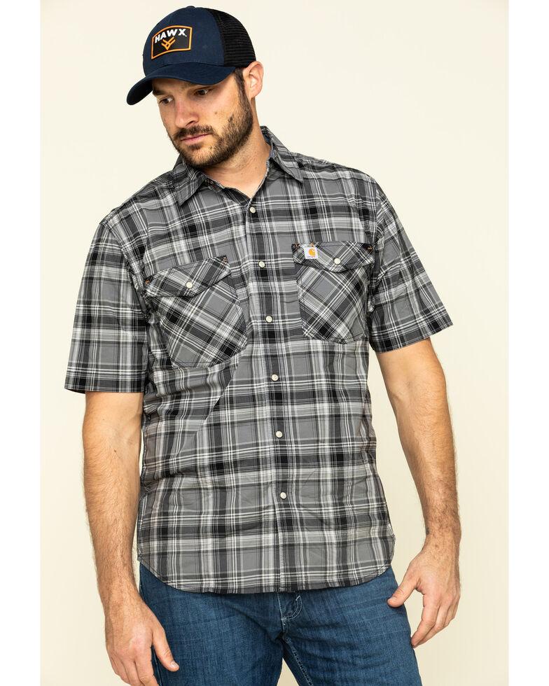 Carhartt Men's Black Rugged Flex Bozeman Plaid Short Sleeve Work Shirt , Black, hi-res