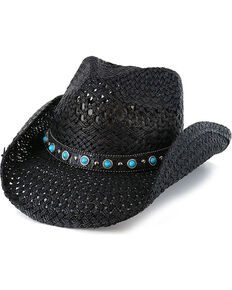 Shyanne Women's Alabama Straw Hat, Black, hi-res