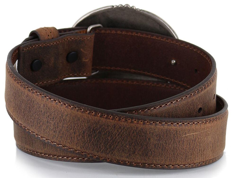 Cody James Men's Patriotic Eagle Leather Belt , Brown, hi-res