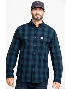 Carhartt Men's Navy Fort Plaid Button Long Sleeve Work Shirt - Big , Navy, hi-res