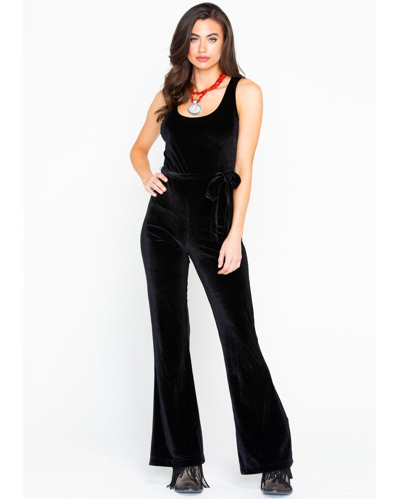 Stetson Women's Velvet Jumpsuit, Black, hi-res