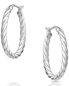 Montana Silversmiths Women's Long Rope Hoop Earrings, Silver, hi-res
