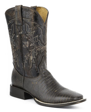 Roper Lizard Print Cowboy Boots - Wide Square Toe, Dark Brown, hi-res