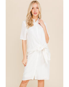 bca0e2aba7d85c Polagram Women's White Tie Waist Shirt Dress