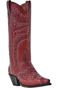 Dan Post Sidewinder Cowgirl Boots - Snip Toe, Red, hi-res