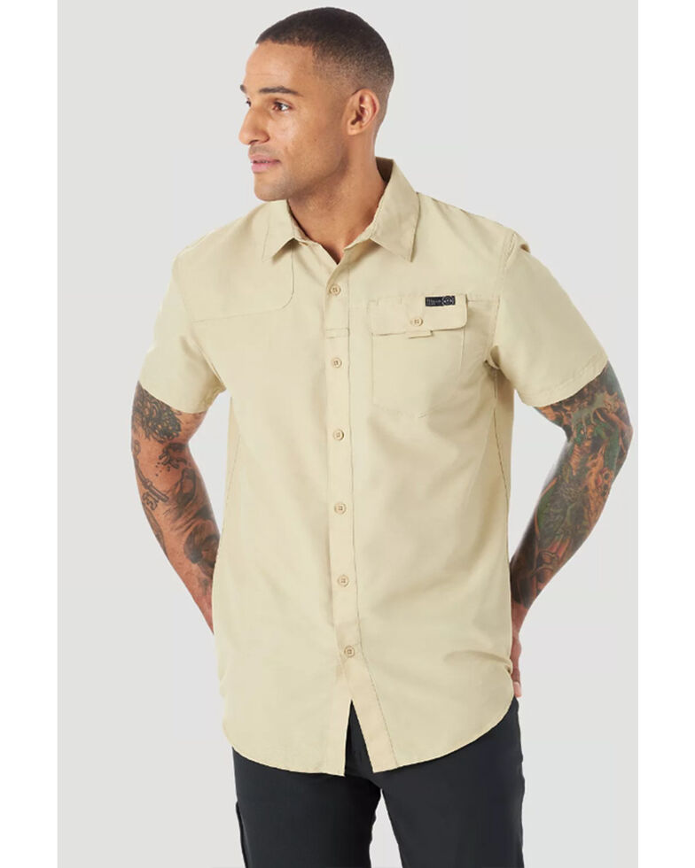 Wrangler ATG Men's All-Terrain Solid Khaki Shooter Short Sleeve Button-Down Western Shirt , Beige/khaki, hi-res