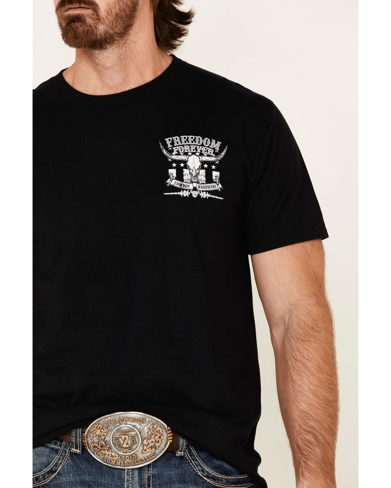 Cowboy Hardware Men's Black Freedom Forever Skull Graphic T-Shirt , Black, hi-res