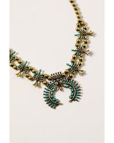 Shyanne Women's Golden Dreamcatcher Squash Blossom Bib Necklace, Gold, hi-res