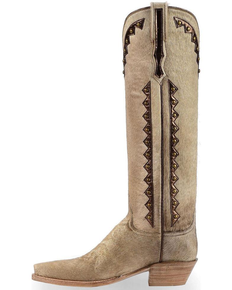 Lucchese Handmade Calf Hair Danielle Tall Cowgirl Boots - Pointed Toe , Natural, hi-res