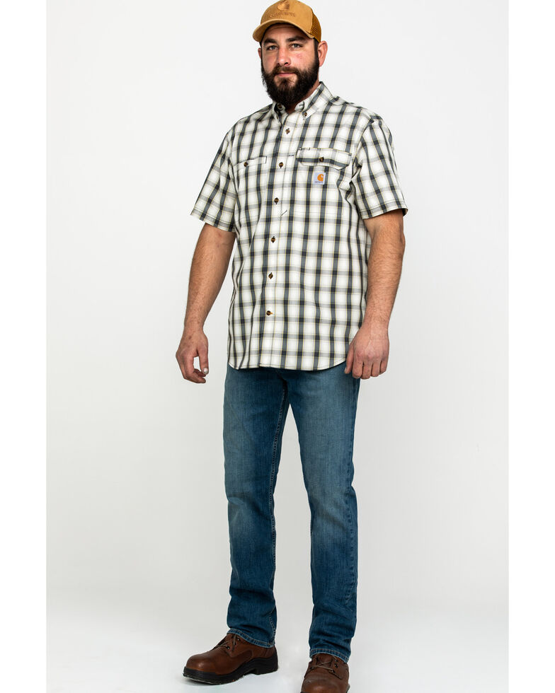 Carhartt Men's Plaid Rugged Flex Rigby Short Sleeve Work Shirt - Big , Grey, hi-res