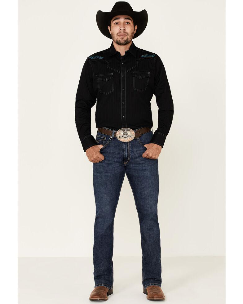 Rock 47 By Wrangler Men's Black Embroidered Long Sleeve Western Shirt , Black, hi-res