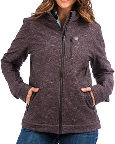 Cinch Women's Printed Softshell Jacket, Charcoal, hi-res