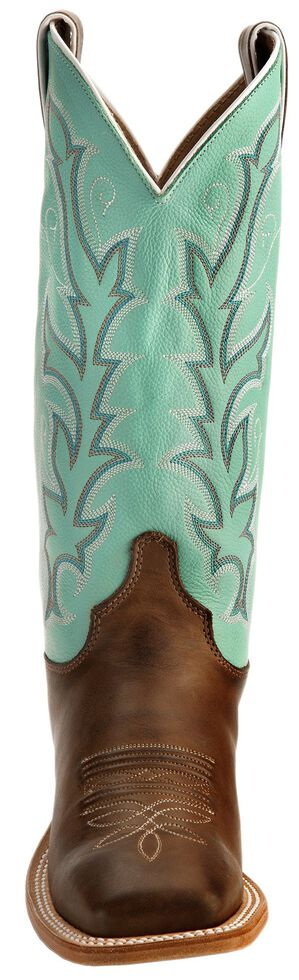 "Justin Bent Rail Women's 13"" Albany Seagreen Cowgirl Boots - Square Toe, Chocolate, hi-res"