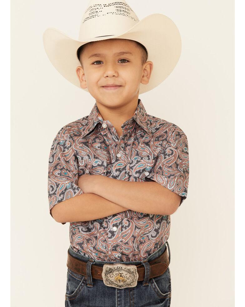 Amarillo Boys' Canyon Paisley Print Short Sleeve Snap Western Shirt , Grey, hi-res