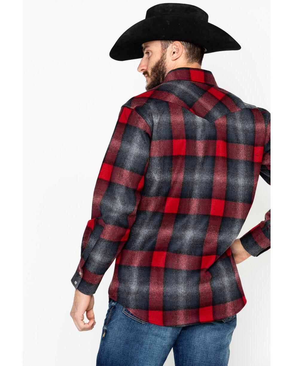 Pendleton Men's Canyon Plaid Long Sleeve Western Flannel Shirt , Black/red, hi-res