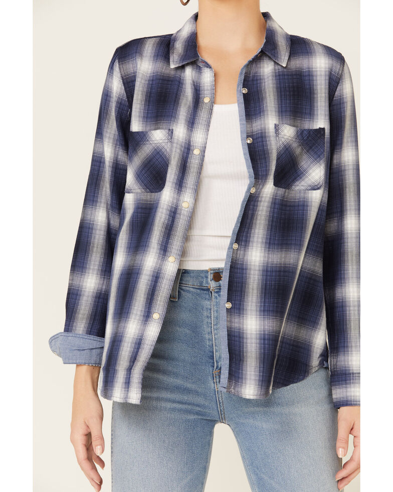 Flag & Anthem Women's Kellysville Double Layer Plaid Long Sleeve Western Shirt, Navy, hi-res