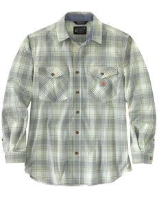 Carhartt Men's Sage Midweight Plaid Long Sleeve Button-Down Work Shirt Jacket - Tall , Green, hi-res
