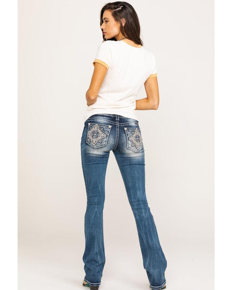 Miss Me Women's Medallion Pocket Med Boot Jeans , Blue, hi-res