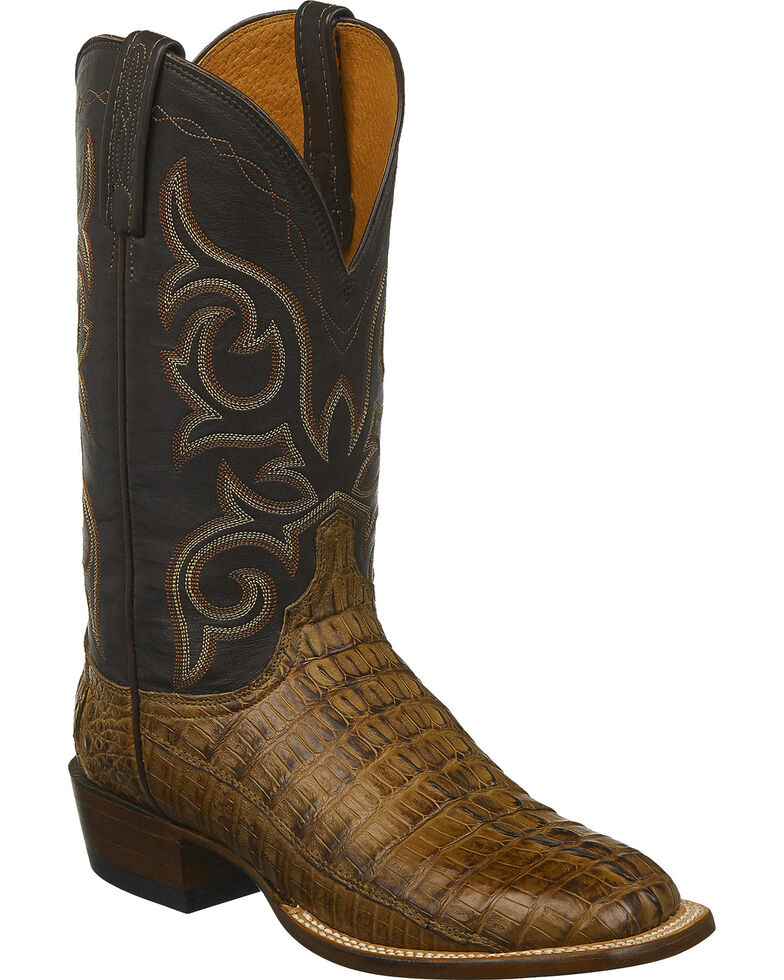 Lucchese Men's Handmade Caiman Western Boots - Square Toe , Brown, hi-res