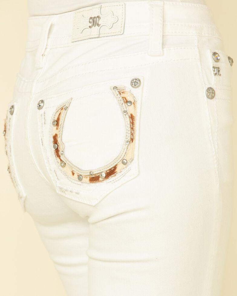 "Miss Me Women's White Mid-Rise Cowhide Horseshoe 34"" Chloe Bootcut Jeans , White, hi-res"
