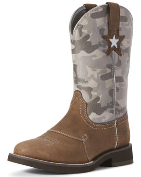 Ariat Women's Delilah Saddle Western Boots - Round Toe, Grey, hi-res