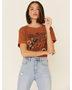 White Crow Women's Carmel Hotter Than A Pistol Graphic Tee , Cognac, hi-res