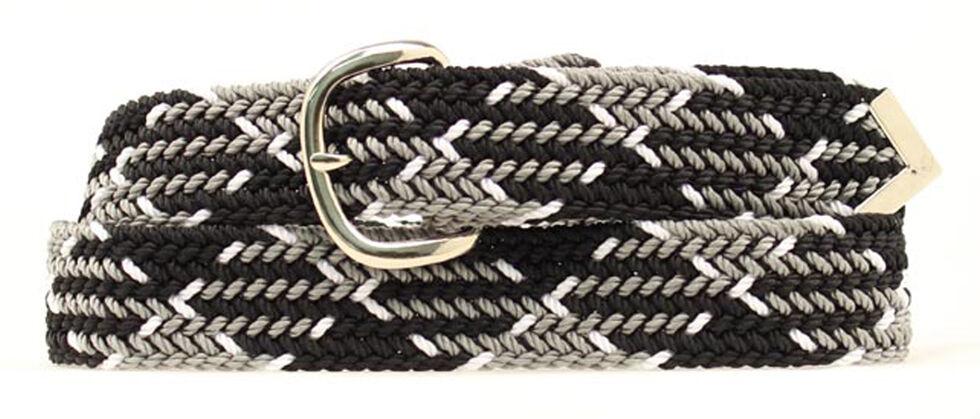 Nocona Black and Grey Machine Woven Braided Belt, Black, hi-res