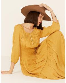 Olive Hill Women's Mustard Clip Dot Raelyn Maxi Dress, Mustard, hi-res