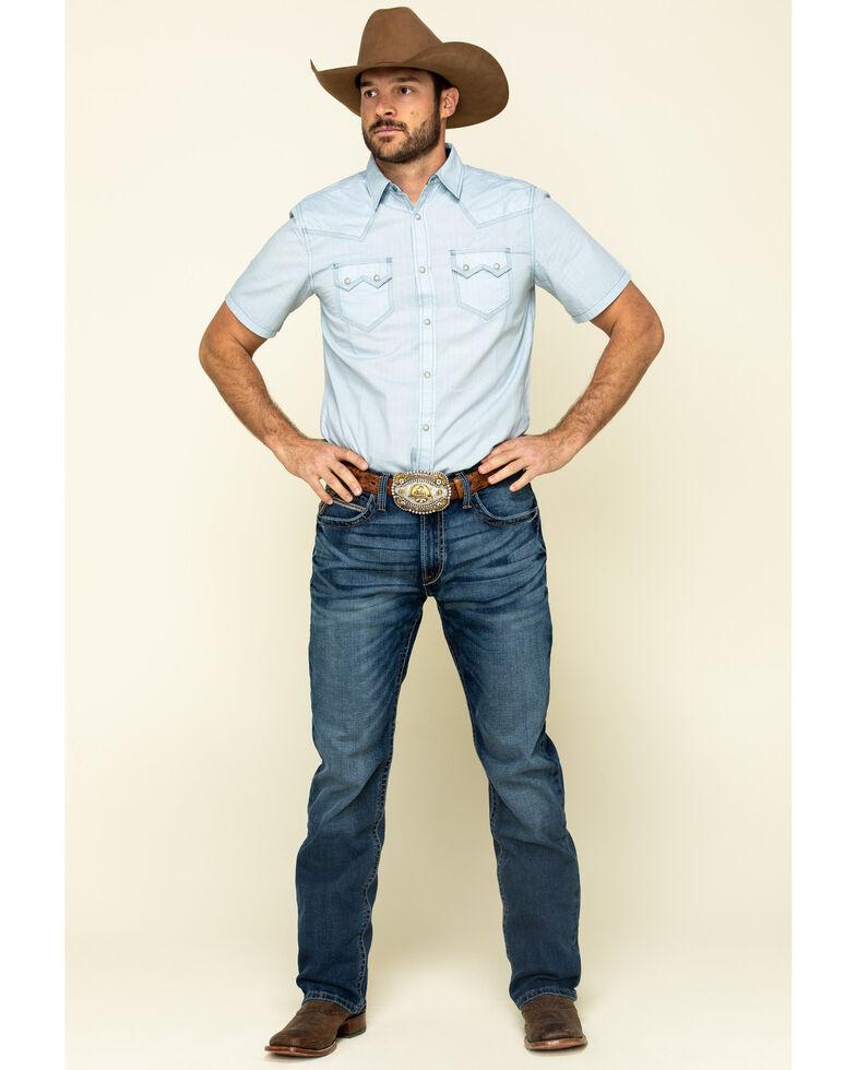 Moonshine Spirit Men's Diamond Road Geo Print Short Sleeve Western Shirt , Light Blue, hi-res