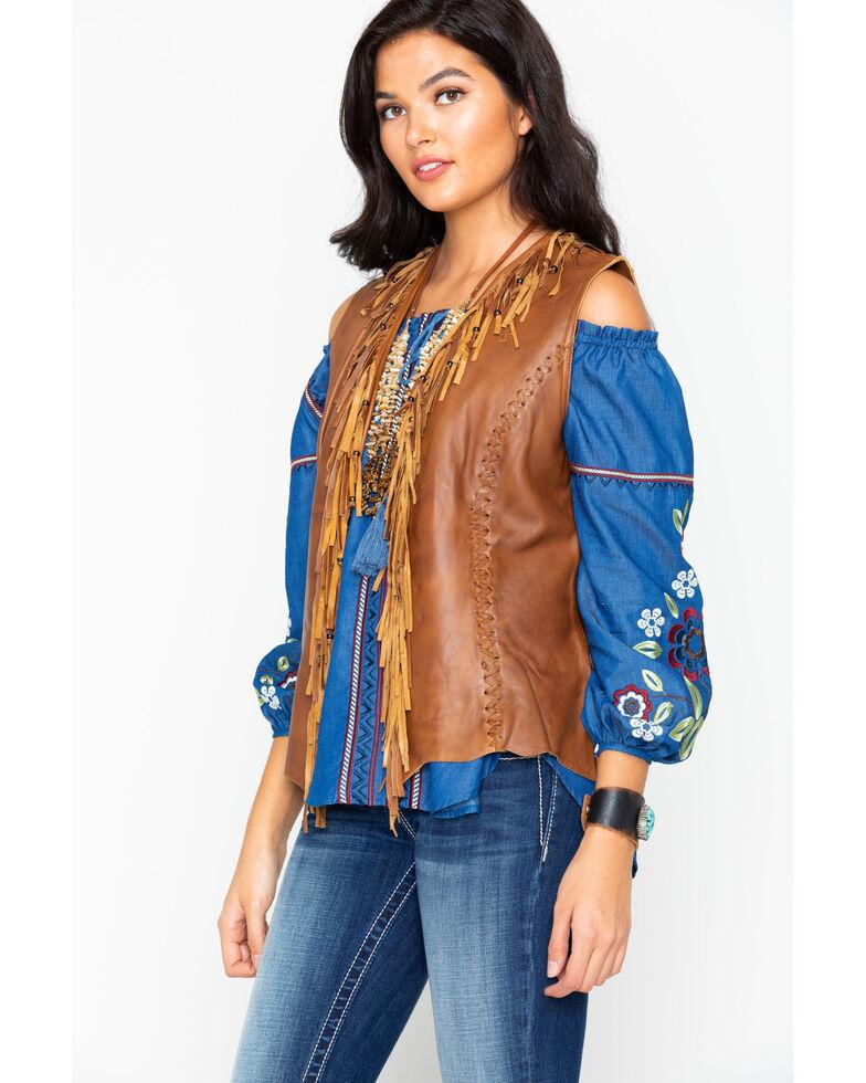 Cripple Creek Women's Leather Fringe Vest , Brown, hi-res