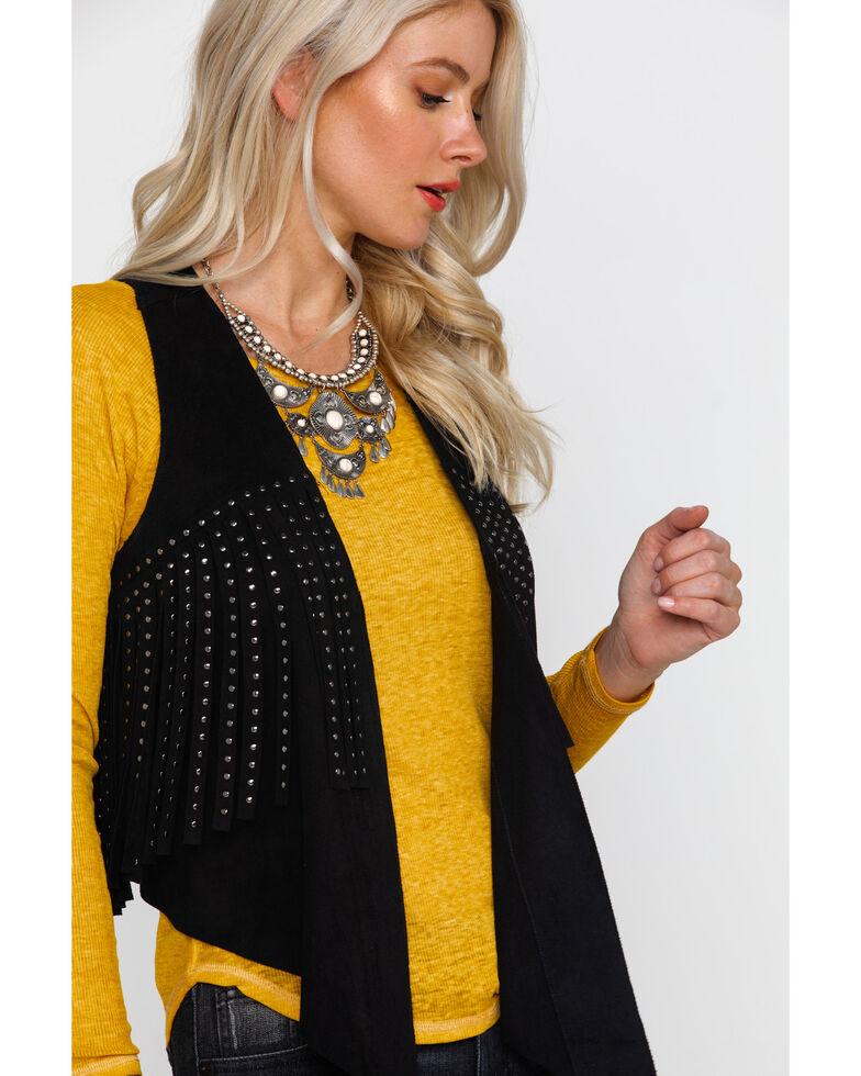 Vocal Women's Faux Suede Studded Fringe Vest , Black, hi-res