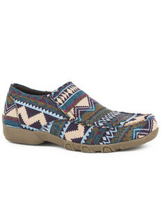 Roper Women's Multicolored Southwestern Aztec Shoes - Moc Toe, Blue, hi-res