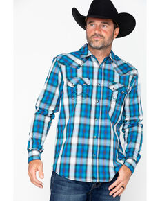 Cody James Men's Emerald River Medium Plaid Long Sleeve Western Shirt , Turquoise, hi-res