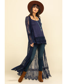 Band of Gypsies Women's Navy Lace Bell Sleeve Duster, Navy, hi-res
