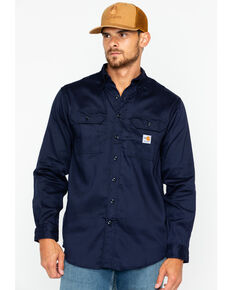 Carhartt Flame Resistant Dry Twill Work Shirt - Big & Tall, Navy, hi-res