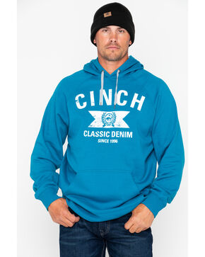 Cinch Men's Blue Graphic Fleece Hoodie, Blue, hi-res