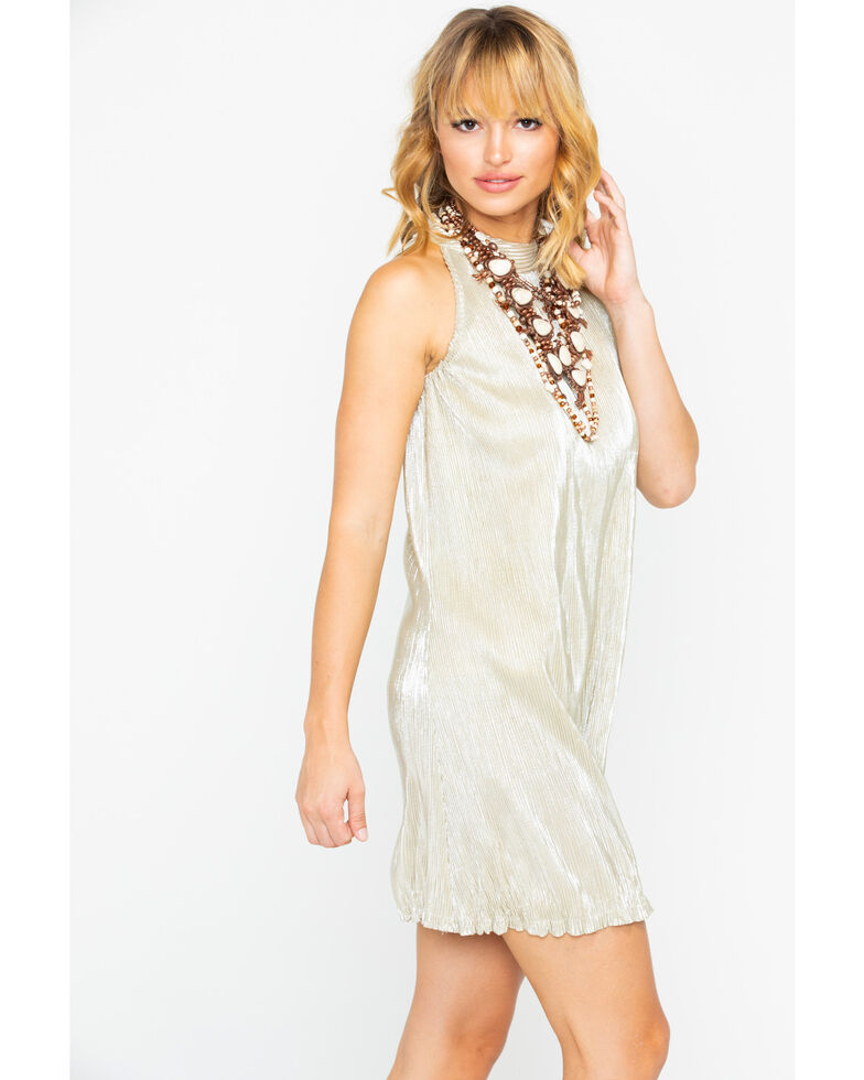 Angie Women's Plated High Neck Metallic Sleeveless Dress , Gold, hi-res