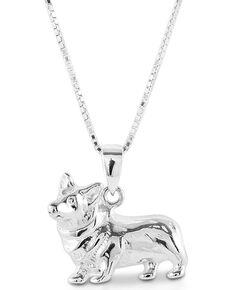 Kelly Herd Women's Small Corgi Necklace , Silver, hi-res