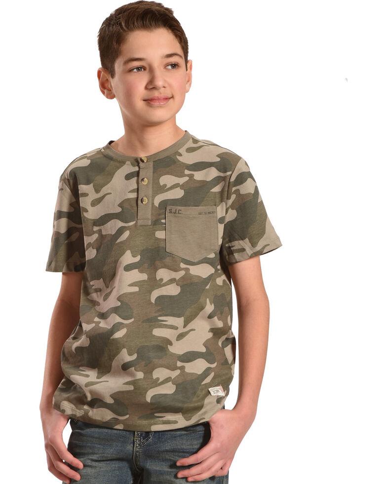 Silver Toddler Boys' Army Camo Short Sleeve Henley Tee, Green, hi-res