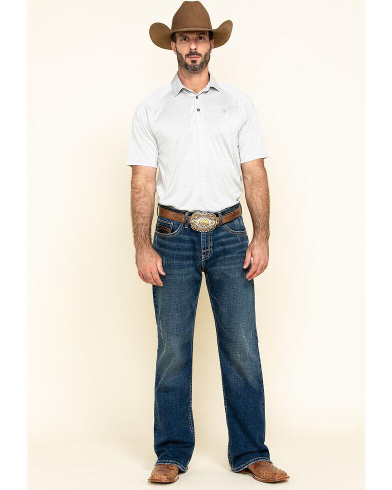 Ariat Men's Grey Charger Short Sleeve Polo Shirt , Grey, hi-res