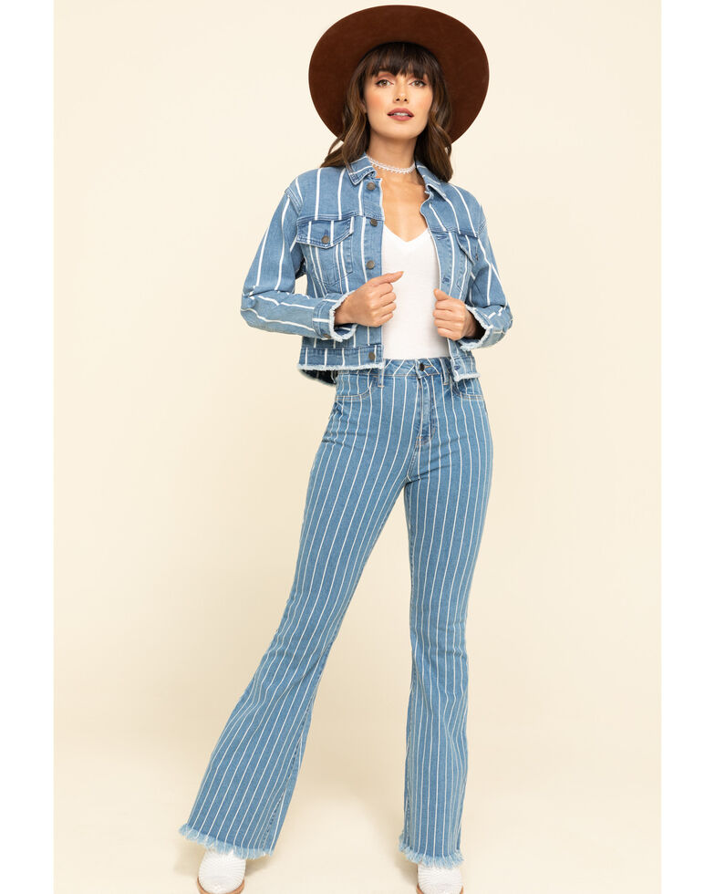 Cello Women's Medium Wash Pinstripe High Rise Flare Jeans, Blue, hi-res