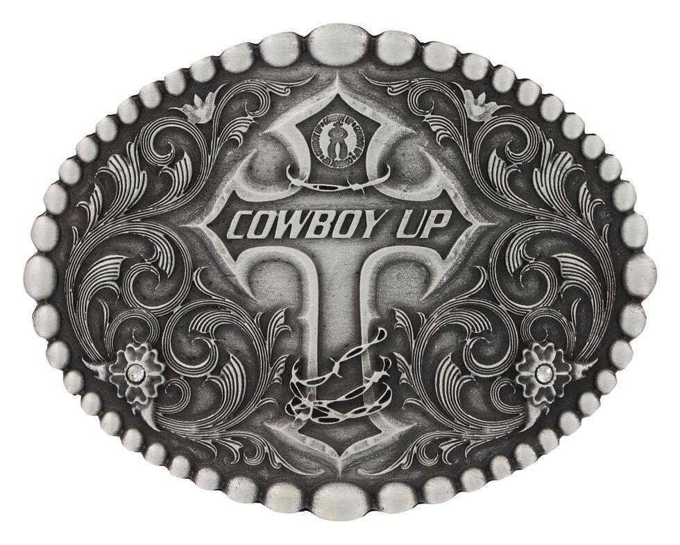 aadb8917f Montana Silversmiths Classic Oval Beaded Trim Cowboy Up Attitude Belt Buckle