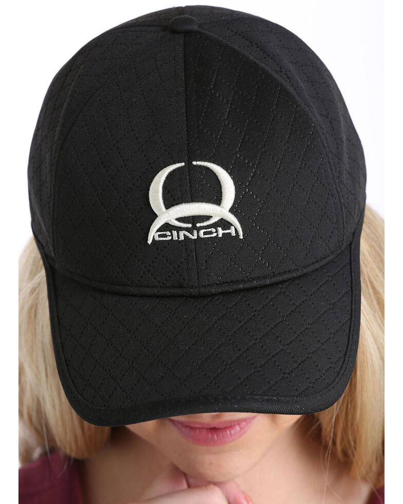 Cinch Women's White Embroidered Logo Athletic Ball Cap , Black, hi-res