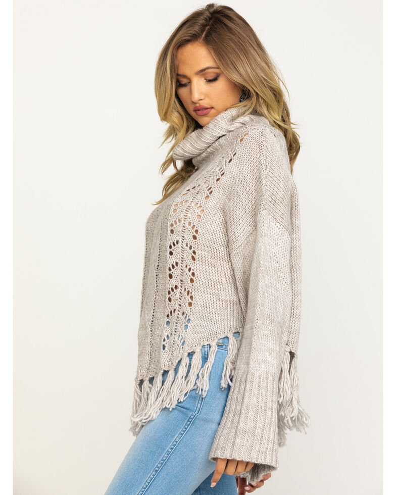 Angie Women's Cable Knit Fringe Turtleneck Sweater , Oatmeal, hi-res