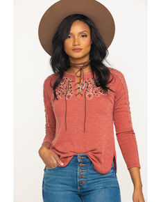 Miss Me Women's Rust Lace Up Henley Top, Rust Copper, hi-res