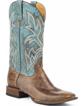 Roper Men's Leather Embossed Teju Lizard Cowboy Boots - Wide Square Toe, Tan, hi-res