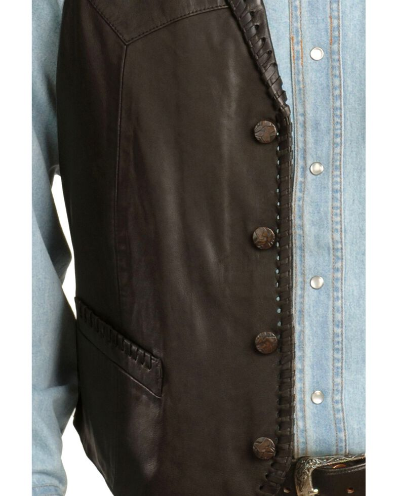 Scully Whipstitch Lamb Leather Vest, Black, hi-res