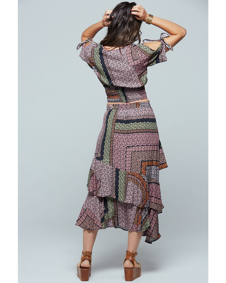 Band of Gypsies Women's Patchwork Ruffle Skirt , Multi, hi-res