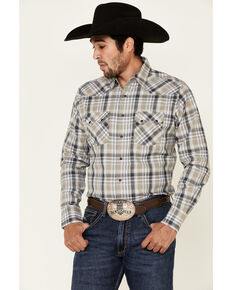 Wrangler Retro Men's Black Med Plaid Long Sleeve Snap Western Shirt - Tall , Black, hi-res